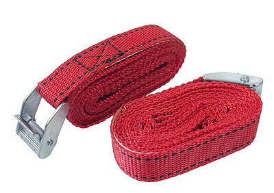 2 x Tie Down STRAPS With Metal Buckle For Securing Loads Car Van - 2.5M x 25mm