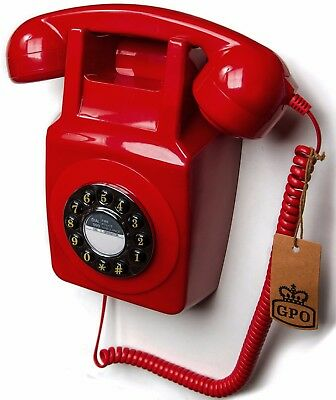 Wall Mounted Phone Retro Red Corded Telephone GPO 746WP Warehouse Factory