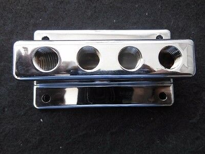 FUEL BLOCK 4x2  CHROME (FB-4x2-1)  HOT ROD FLATHEAD STROMBERG 97 HOLLEY 94