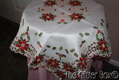 Christmas Table Toppers Ivory Cutlace Red Poinsettias Chritmas Table Linens