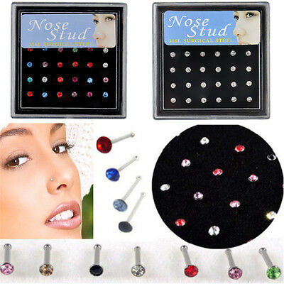 24Pc Rhinestone Nose Lip Ring Studs Surgical Steel Crystal Body Piercing Jewelry