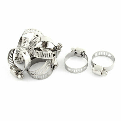 Adjustable 16-25mm Range Band Stainless Steel Wire Pipe Hose Clip Clamp 10 Pcs