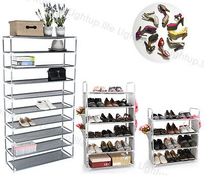 4 or 6 or 10 Tier Optional Metal Shoe Rack Storage Organizer Stand Shelf Holder
