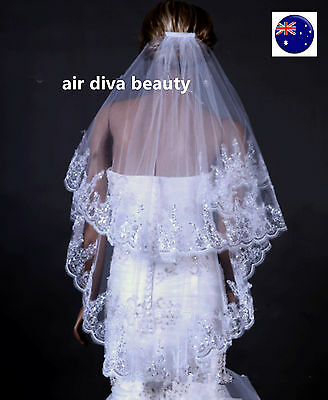 Women Lady Bride Bridal Wedding layers Veil WITH COMB head hair Accessory PROP
