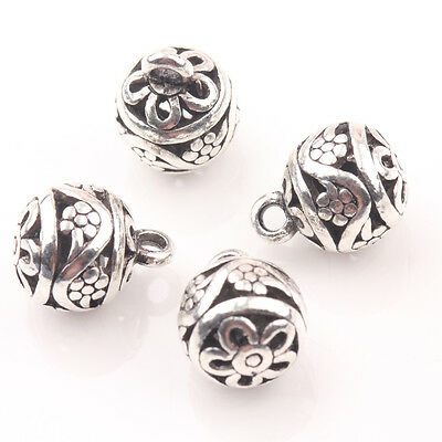 10/20Pcs Charm Hollow Out Tibetan Silver Flower Jewelry Loose Spacer Beads 10mm