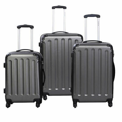 GLOBALWAY 3 Pcs Luggage Travel Set Bag ABS+PC Trolley Suitcase Gray