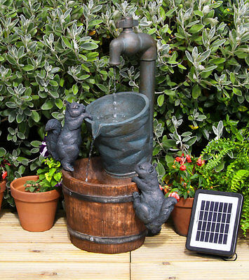 Tap Bucket Barrel Water Feature Fountain Cascade Waterfall Solar Powered Garden