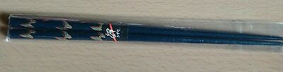 Pair Navy Blue Chopsticks With Butterfly Pattern - U.k Seller- Post Worldwide