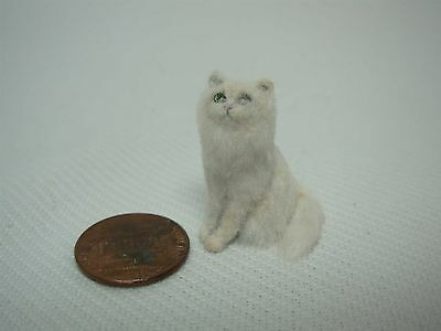 1989 Ooak Signed Tina Selden Nickel Dollhouse Miniature Realistic Fur White Cat