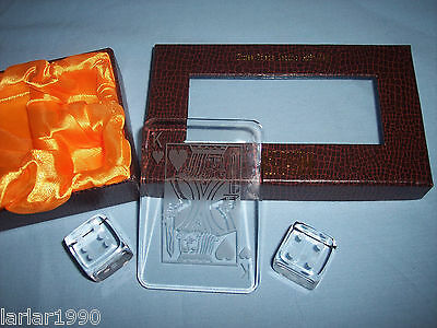 Oleg Cassini Crystal 3 Piece Casino Gift Set Clear & Frosted  Paperweights New