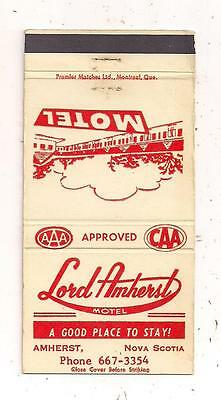 Lord Amherst Motel Amherst NS Nova Scotia Matchcover 081015