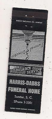 Harris-Dabbs Funeral Home Sumter SC Matchcover 080915