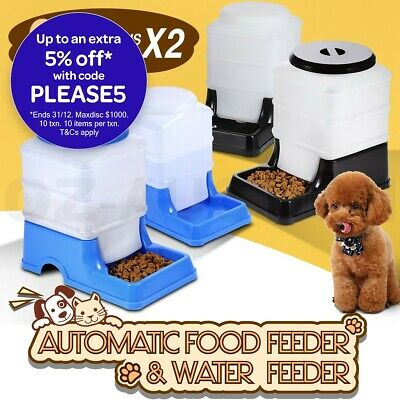 Auto 2L Pet Feeder Waterer Dog Cat Rabbit Self Feeding Food Water Dispenser Set