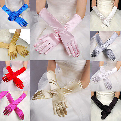 Women Satin Opera Costume Evening Party Long Gloves Wedding Prom Bridal Gloves
