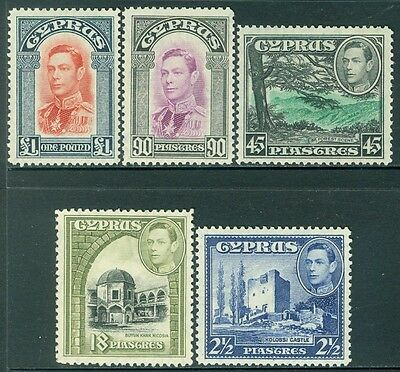 CYPRUS : 1938-51. Stanley Gibbons #156, 160-63. Very Fine, Mint NH. Catalog £218