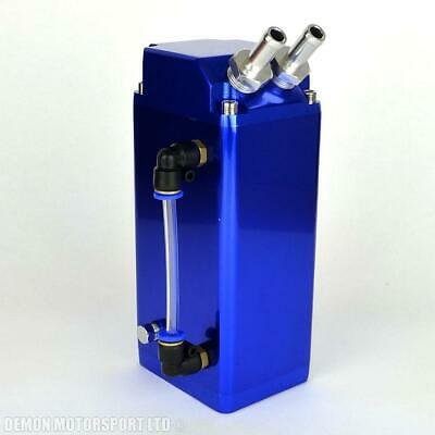 Universal 0.6 Ltr Oil Catch Tank (Blue) Blow By Breather Can (with sump drain)