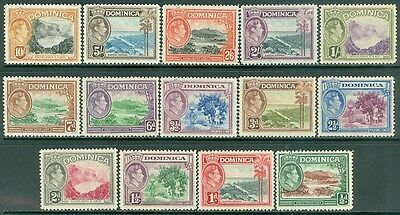 DOMINICA : 1938-47. Stanley Gibbons #98-108a VF, Mint OG. Top 2 values are NH.