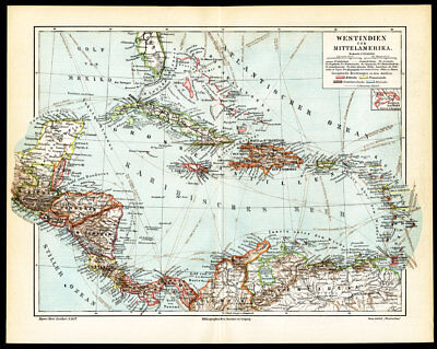 Antique Map-MIDDLE AMERICA-CARIBBEAN-PANAMA-Meyers-1895