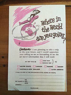 VINTAGE 1950's Hawaiian Airlines Traveler Information AdvertIsing POSTCARD s5