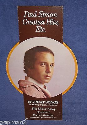 "Paul Simon 1977 Greatest Hits Columbia LP Promotional 13"" x 24"" In-Store Mobile"