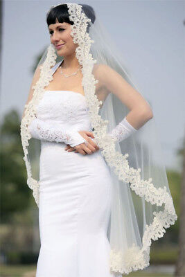 Bridal Wedding Mantilla Veil White 1 Tier Long Knee Length Beaded Lace Edge