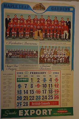 Toronto Maple Leafs Vintage Hockey Calendar 1 Page Only February 1966 NHL Export