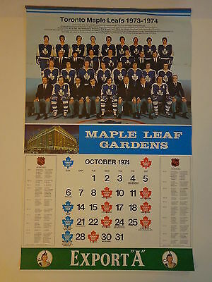 Toronto Maple Leafs Vintage Hockey Calendar All Pages 1974-1975 NHL Export A NM