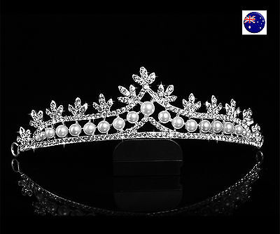 Women White Wedding Pearl Bride Bridal Crystal Rhinestone Hair Crown Tiara PROP