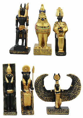 Egyptian Classical Gods Anubis Horus Isis Osiris Sekhmet Dollhouse Miniature Set