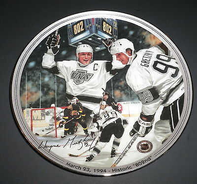 """Great Moments in Hockey Gretzky Historic 802nd Collectors 8"""" Plate #10762A COA"""
