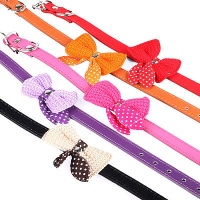 Knit Bowknot Adjustable PU Leather Dog Puppy Collars Necklace Collars For Pet