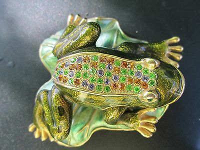 Enameled Frog on Lily Pad Trinket Box w/Crystals and Lady Bug Inside