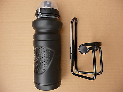 Bicycle Water Bottle & Cage NEW Black Hydration Holder Bike Drinks Flask