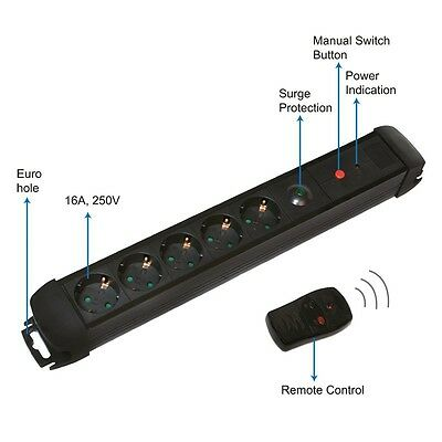 5-Way Extension Power Socket Remote With Control Switch 230V Black