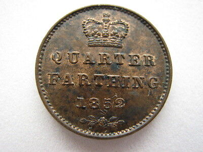 1852 copper Quarter Farthing, A UNC.