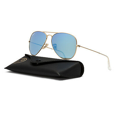 Ray Ban RB 3025 Aviator Sunglasses 112/4L Gold / Polarized Blue Flash 58 mm