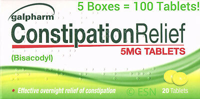 100 X BISACODYL 5mg (ENTROLAX) CONSTIPATION RELIEF LAXATIVE TABLETS
