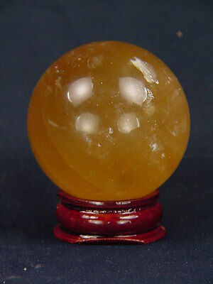 BUTW Golden calcite healing gazing sphere 41mm with stand lapidary orb 5004K