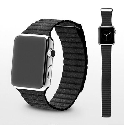 Apple Watch Schwarz Leder Armband Magnet Verschluss 42mm Adapter loop Uhr black