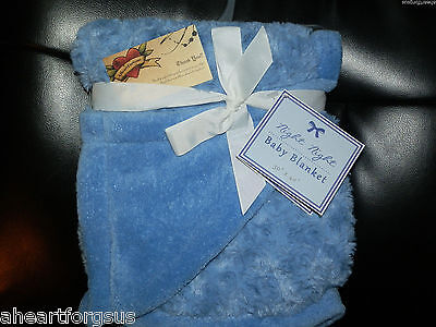 Baby Blanket Curly Rosette Faux Fur Night Reversible Plush Solid Blue Boy Girl