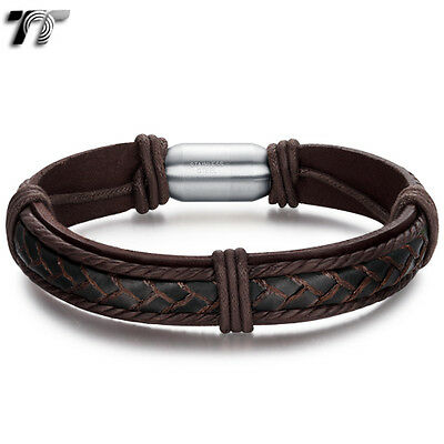 TT Black Genuine Leather Curb Chain Stainless Steel Bracelet Wristband (BR178)