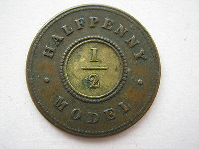 Victorian model Halfpenny by Moore, VF.