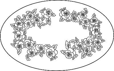 "Rug Hooking Pattern ""PANSY OVAL""  on natural linen"