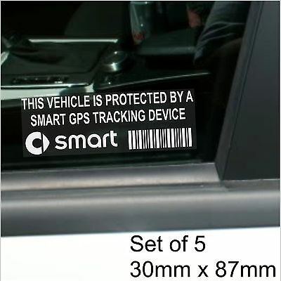 5 x SMART GPS Tracking Device Security Stickers-City.Fortwo-Car Alarm Tracker