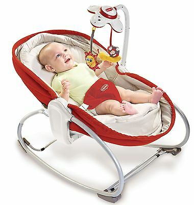 Tiny Love 3-in-1 Baby Rocker Napper Seat Travel Bassinet Play Sleep RED NEW