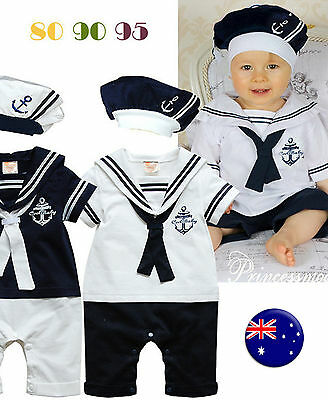 NEW kids Girl Boy Baby Navy Sailor marine Stripe Costume Party Romper + hat prop