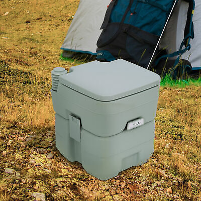 HOMCOM Mobile Camping Toilet Portable Travel Chemical WC Outdoor Handle Grey