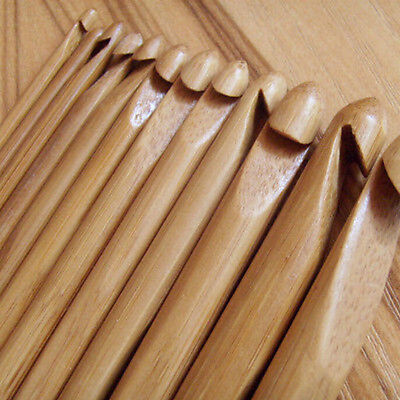 12pcs 3-10mm Bamboo Handle Crochet Hook Knit Craft Knitting Needle Weave Yarn 6""