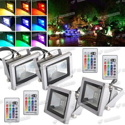4X10W Led Security Light Rgb Multicolour Floodlight Garden Outside Ip65 Lamps
