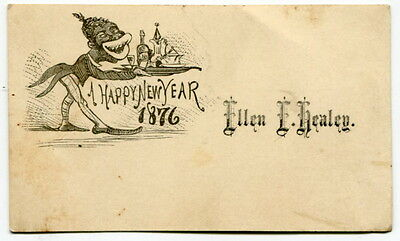 "Vintage Greeting Card: ""A HAPPY NEW YEAR 1876"" With Black Caricature"